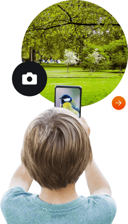 A boy using the Scan and Learn feature of Hello Genius