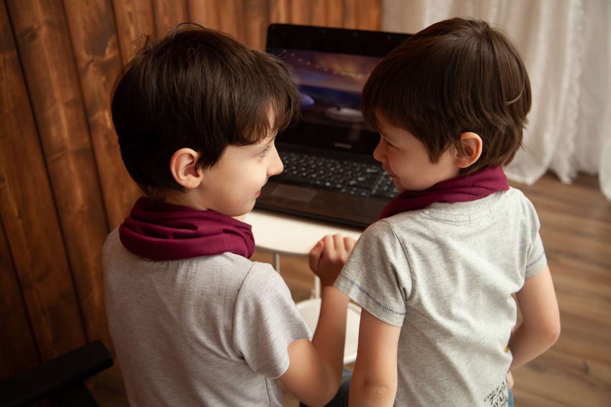 two brothers sharing computer